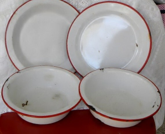 Vintage Primitive Red White Enamelware Plates and Bowls for Camping or Decor