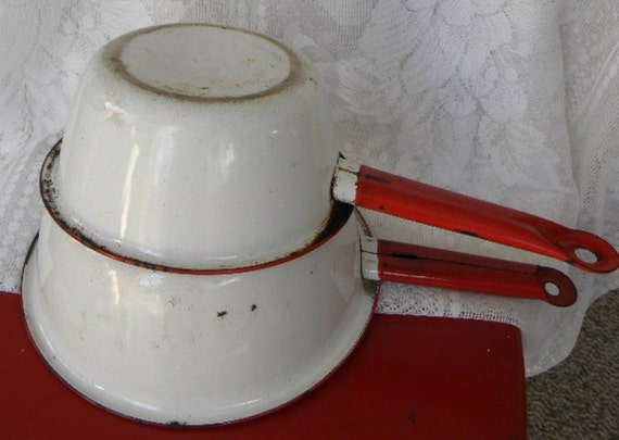 2 Vintage Red and White Enamelware Sauce Pans Great for Camping