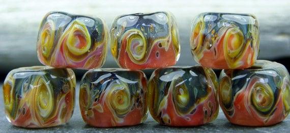 CrazyCatGlass Lampwork Boro Beads Wild Turkey Stones (7)