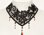 Victorian lace gothic Steampunk choker with Ruby red Swarovski NOCTURNE