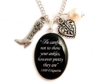 Steampunk necklace Victorian Etiquette inspired - Be careful not to show your ankles, however pretty they are