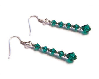 Sterling silver Swarovski earrings Emerald green gothic earrings