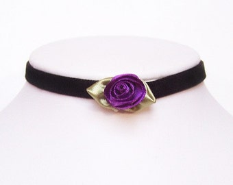 Victorian gothic choker velvet with a silk Purple Rose - AMELIA