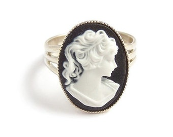Victorian gothic Cameo ring, black and white adjustable ring