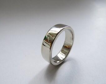 Mens Custom Heavy 10K White Gold Heavy Solid High polished Wedding band. Men's Wedding Ring. White Gold Wedding Band. Men's Wedding Band.