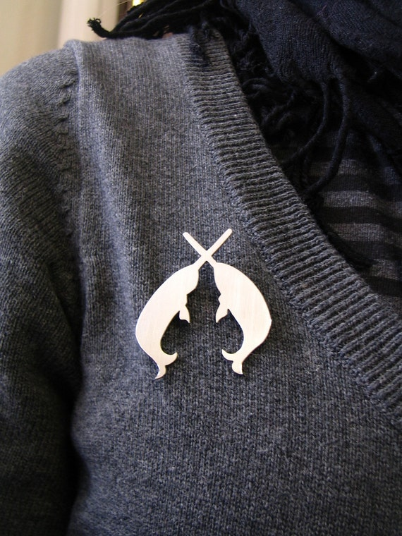 Secret Order of the Narwhal Society Brooch. Narwhal Brooch.