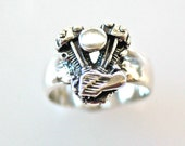 Small Knucklehead Motor Ring in Sterling Silver