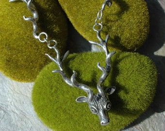 Deer Antler Huntress Necklace in Sterling Silver