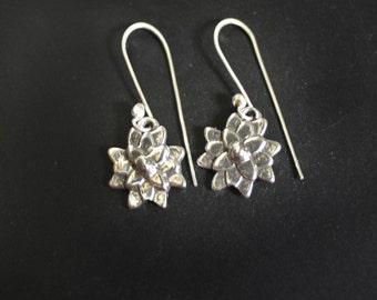 Asian Mum Flower Earrings in Sterling Silver