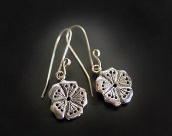 Mini Sakura Cherry Blossom Earrings in Sterling Silver