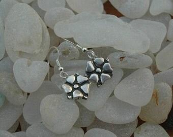Flower Blossoms Dangle earrings in Sterling Silver