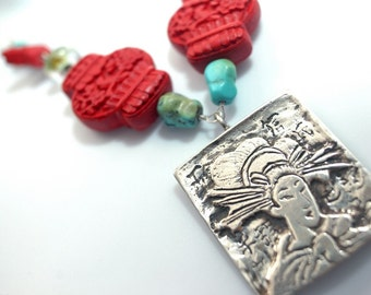 Red Lanterns, Butterflies, and Turqoise Beads with Geisha in Sterling Silver