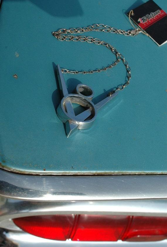 Revvv'd up V8 Car Part Necklace in White or Gold Bronze