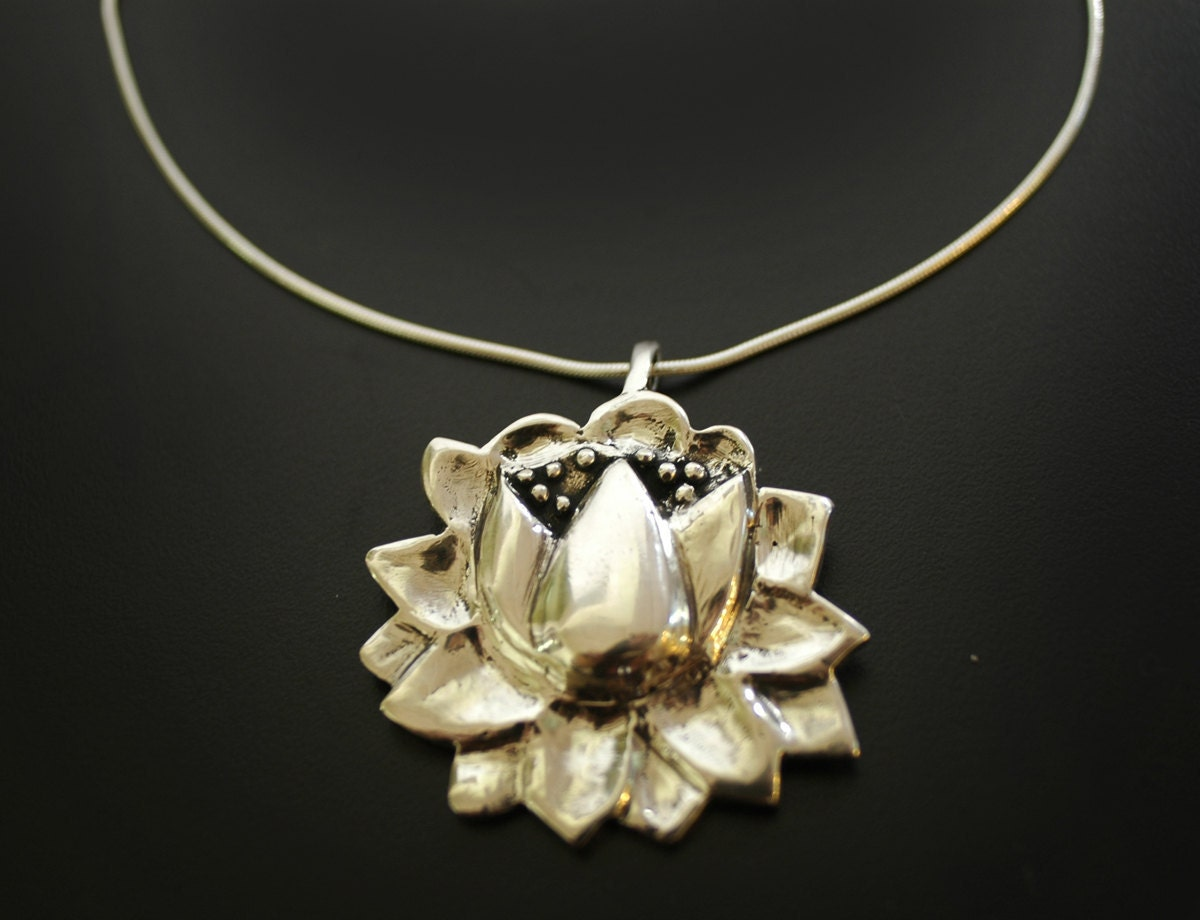 Large Lotus Flower Necklace In Sterling Silver