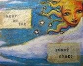 "Sun face Original art 7 x 9 "" mixed-media on canvas board ""Solar Goddess"" series...CaaT"