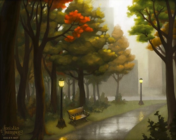 Autumn in the Park - 4x5 Mini Art Print