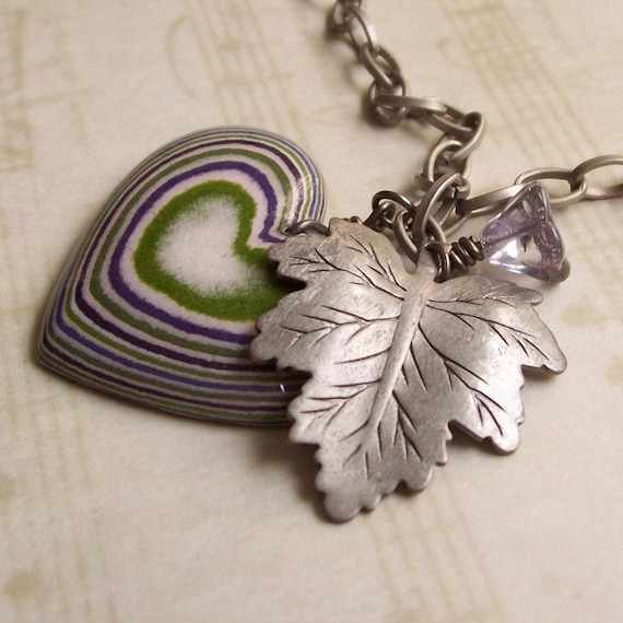 Blackberry Thicket Layered Paper Heart Necklace