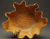 Wave Bowl in Flame --  Handbuilt Porcelain