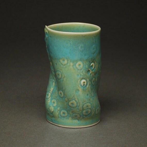Tall Tumbler in 50's Turquoise -- Handbuilt Porcelain