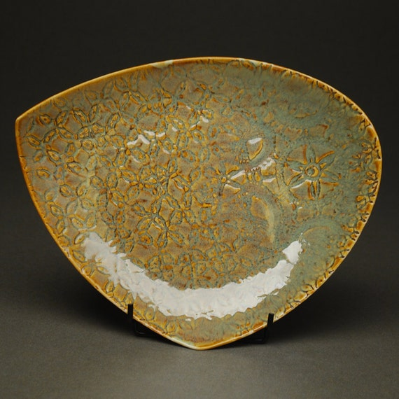 35% OFF SALE -- Plate in LIchen -- Handbuilt Porcelain