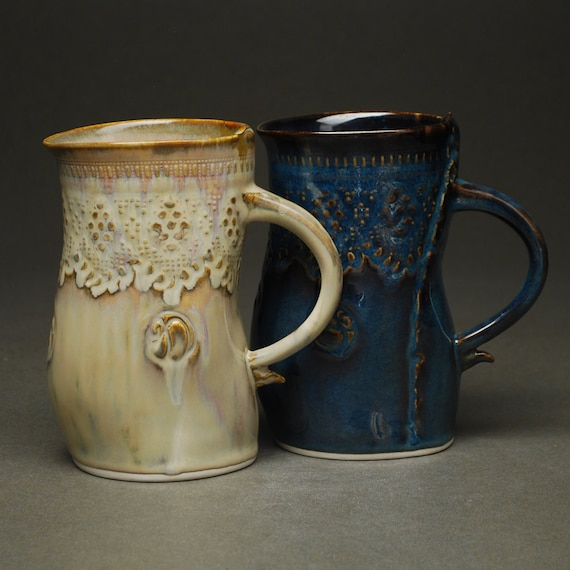 35% OFF SALE -- Odd Couple Set of 2 Large Mugs in Ivory and Midnight -- Handbuilt Porcelain