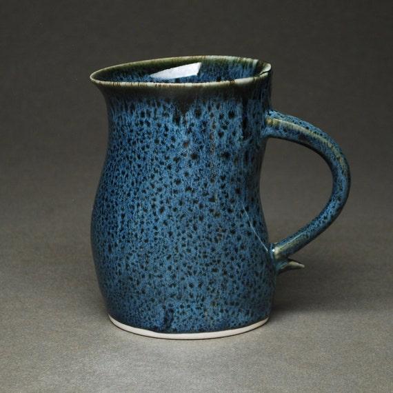 35% OFF SALE -- Mug in Blue Leopard -- Handbuilt Porcelain