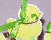 12 YELLOW DUCK Cupcake Topiaries Cake Toppers Picks Baby Shower Birthday
