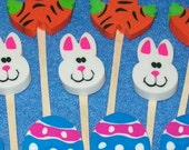 12 Easter Bunny Egg Carrots Cupcake Toppers Cake Decorations