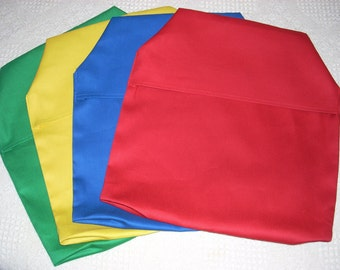 6 Chair Pockets /   blue, green, red, black, orange  Durable Twill chair pockets Mix and Match Primary Colors