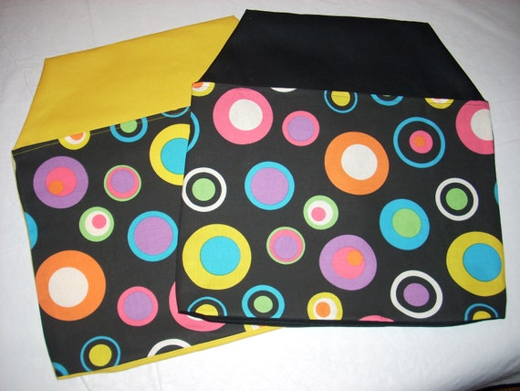 27 CHAIR POCKETS Seat Sacks Durable Cotton Twill Black Yellow Pink Green Turquoise and Orange Circles