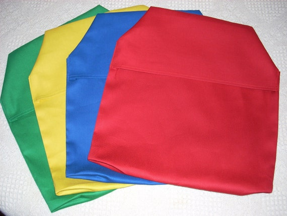 6 CHAIR POCKETS Durable Twill Seat Sacks Mix and Match Primary Colors
