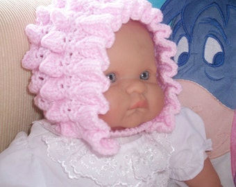 Luxury Baby Bonnet - Pink Fluted Frills 0 - 3 months plus