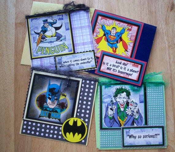 Set of 4 DC Comic Hero and Villains Greetings Cards - sale