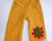 Pants - Chenille Girls Yellow with Red and Olive Flower - Sizes 00, 0, 1 and 2 (3, 6 months, 1T and 2T)