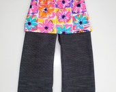 Bright Floral and Denim Look Skant (Skirt and Pant in One) - Size 1 2 and 3 (1T, 2T and 3T)