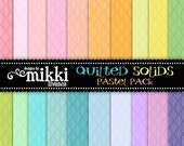 Digital Papers- Quilted Solids Pastel and Jewel Rainbow Paper Pack- Set of 40