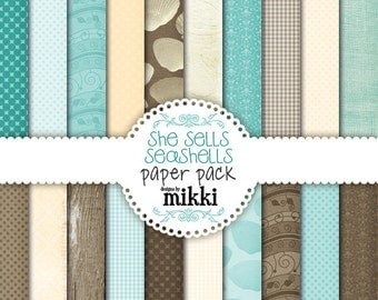 Digital Papers- She sells seashells Paper Pack