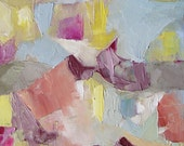 Abstract Painting, fine art original, oil on canvas, small, 12 x 10 inches, soft subtle pastel colours