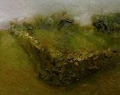 "Original oil painting, imagined garden landscape  13 x 7.5 in, 33 x 19 cm, ""Domain"""