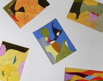 Abstract painting, ACEO original, miniature art