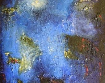 Abstract oil painting, deep blue original wall art, ultramarine lapis and golden olive green art, 16 x 12