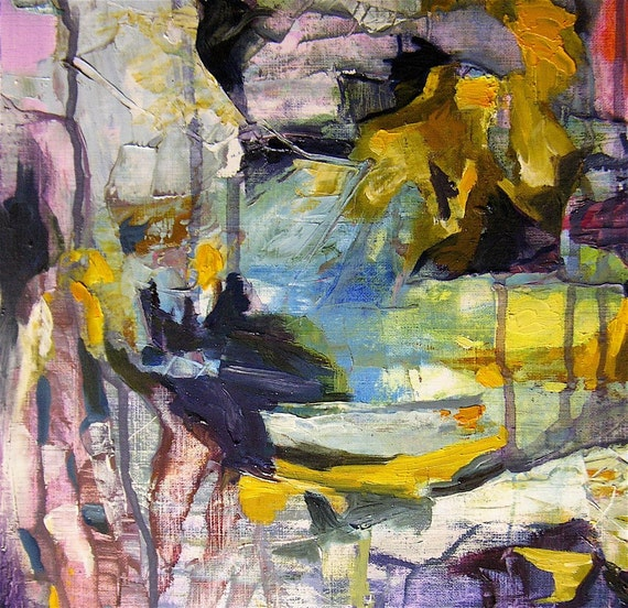 Abstract painting, gold, yellow, violet blue, pink, white, 22 x 16.5