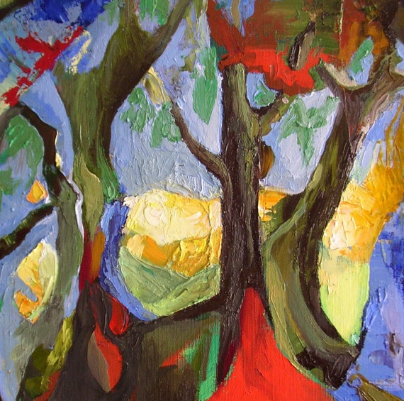 "Original oil painting, 25 per cent donation to the UK Woodland Trust,  trees, expressionist, ""Wounded Wood"", 16 x 20"