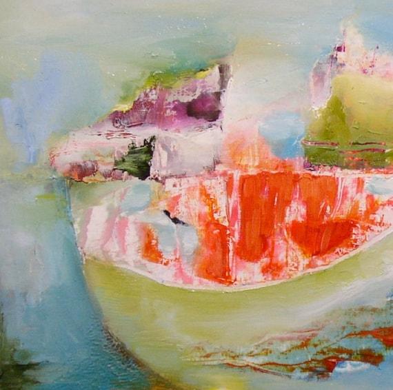 Fine art reproduction print, abstract, small, bright, juicy orange, pea green, sky blue