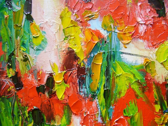 Abstract painting, red green 16 x 12 textural