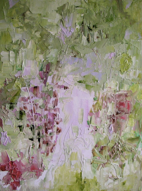 "Painting, original oil, floral abstract landscape, fresh spring greens, mauve, rose,  18 x 12,  ""Mornings With Malakoff"""