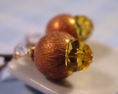 Acorn Earrings. Amber Fall Crystal Earrings. Vintage Look Autumn Brass earrings .