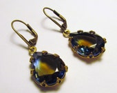 Sapphire Topaz Earrings. Vintage Style Rhinestone earrings. . Dangle glass earrings.