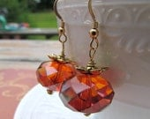 Pumpkin Earrings. Orange Autumn Swarovski Earrings. Fall Earrings. ONLY PAIR