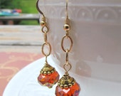 November Gold Dangle Earrings. 14 K Gold Crystal earrings. Red Swarovski Earrings. Bridal jewelry